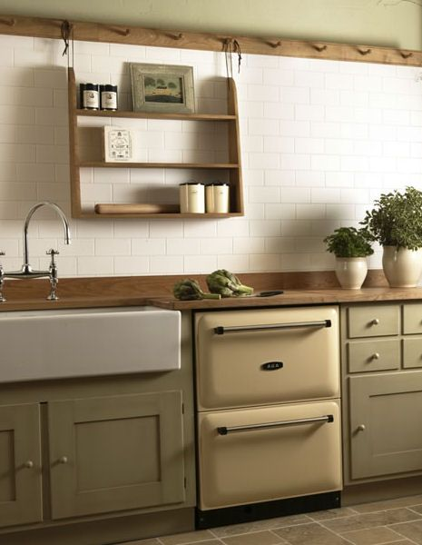 Apparently this is an Aga refrigerator? Cute! Other colour options? Love the sink.