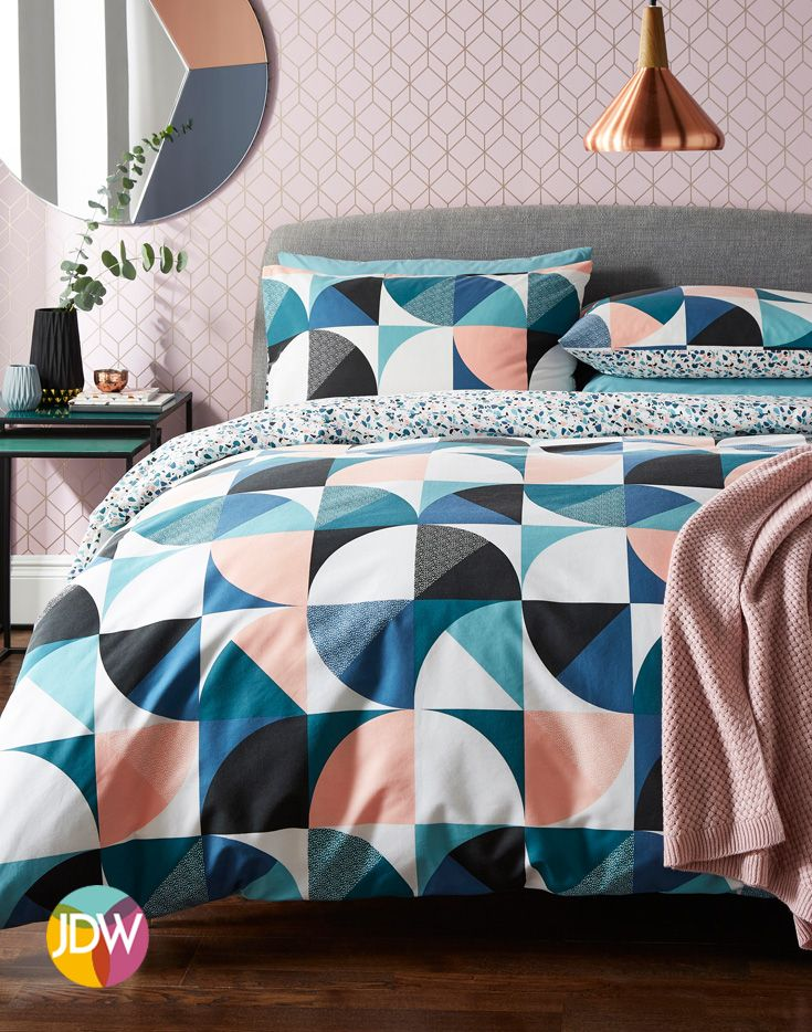 Bring A Funky And Modern Twist To Your Bedroom Decor Colourful Geometric Bedding Set Duvet Cover Sets Geometric Bedding Duvet Design