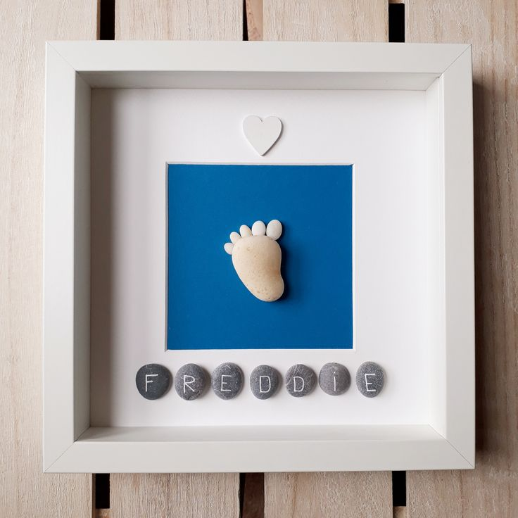 Baby Footprint, New Baby Boy Pebble Art, New Baby Art, Pebble Art, Framed Art, Pebbles, Pebble Artwork, New Parent Gift, Unique Baby Gift