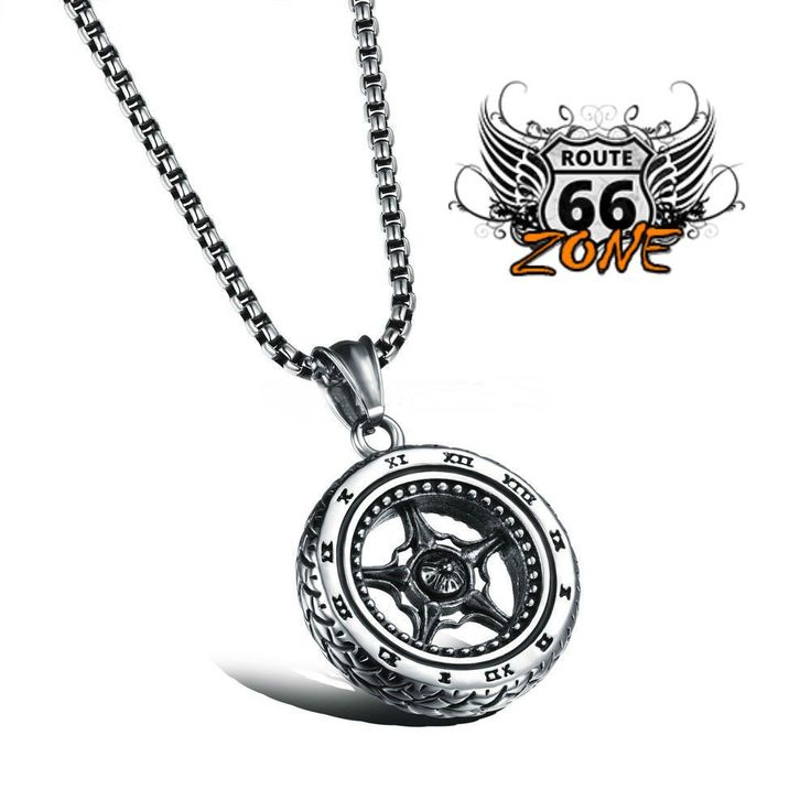 Biker  Casting Roman tire and wheel  Pendant & Stainless Steel Chain Necklace