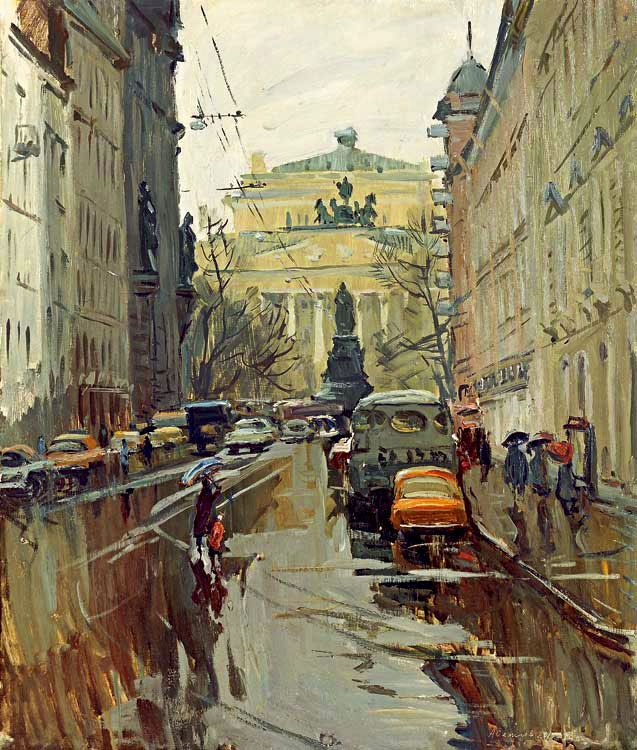 Arseny Semionov — Malaya Sadovaya Street in the Leningrad. 1979. Oil on board, 70 x 60 cm / #SaintPetersburg