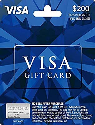 Amazon 200 Visa Gift Card Plus 695 Purchase Fee Cards