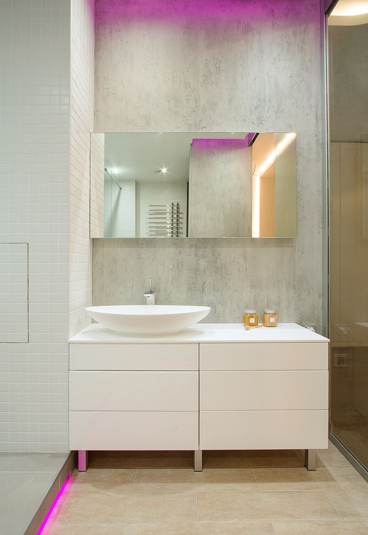 Eye Catching Pink Cove Lighting Installed Inside Modern Studio Apartment Bathroom Ceiling Also Floor Area