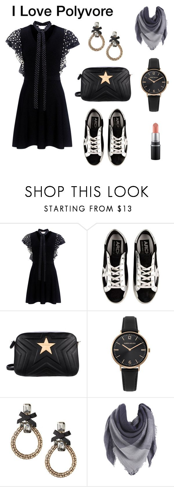 """""""Black is classic."""" by gift2say ❤ liked on Polyvore featuring RED Valentino, Golden Goose, STELLA McCARTNEY and Karen Millen"""