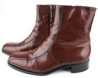 Vintage Florsheim Imperial Chestnut Brown Leather Boots Mens size 10 D