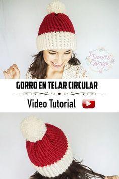 Gorro para adulto en telar circular. En este post encontrarás el video  tutorial con el paso a paso y los materiales detallados! c0b66019ab2