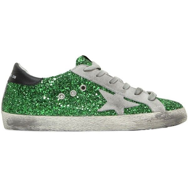 Golden Goose Deluxe Brand Women Super Star Glitter & Suede Sneakers (1,610 AED) ❤ liked on Polyvore featuring shoes, sneakers, suede sneakers, suede leather shoes, golden goose, rubber sole shoes and glitter shoes