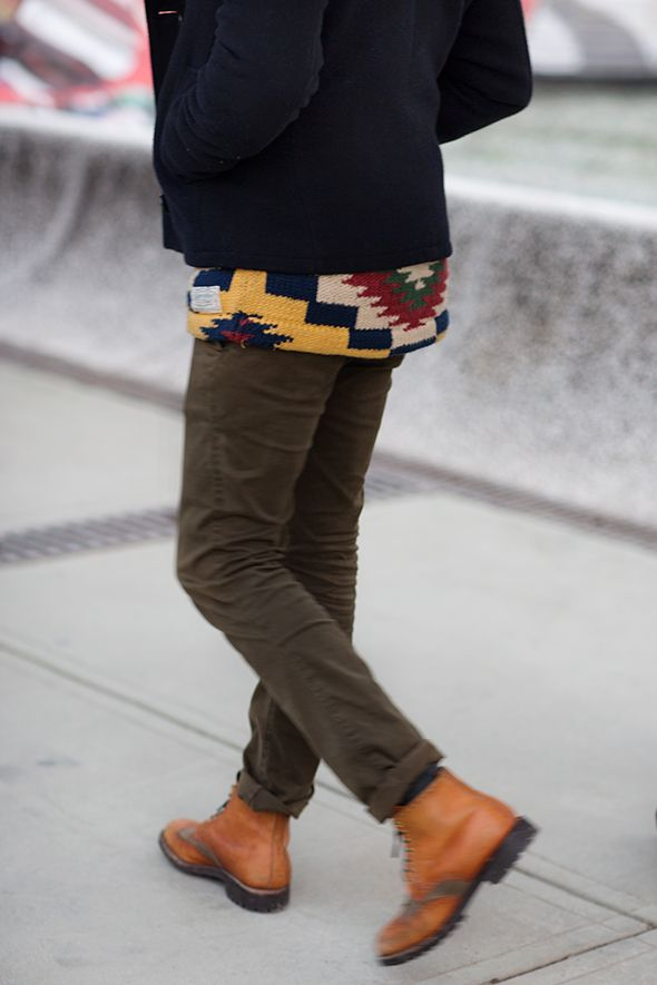 """""""I love a graphic print like this, but it's so tough to do as a standalone item. Wearing it as a layer seems so much more subtle, and yet just as effective."""" ~The Sartorialist"""