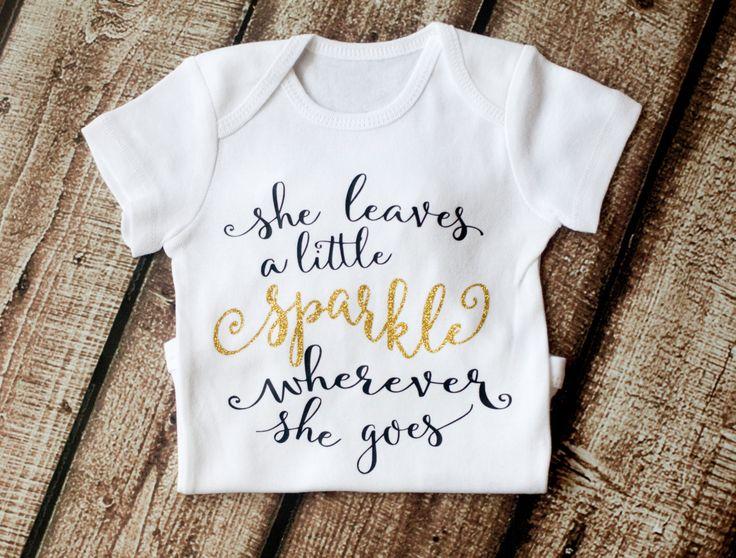 she leaves a little sparkle wherever she goes  girls shirt  girls onesie  glitter shirt  quote