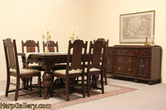 english tudor antique 1925 dining set, oak and walnut - harp