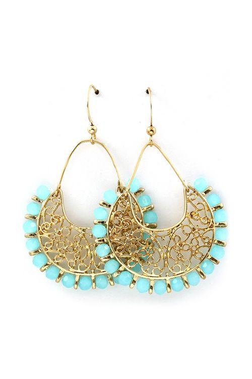 Filigree Chandelier Earrings in Soft Blue