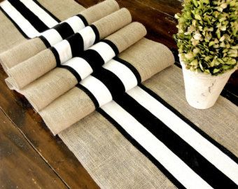 Burlap table runner with black and white French stripes