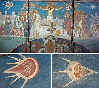 "A fresco entitled ""The Crucifixion"" and was painted in 1350. The fresco is located above the altar at the Visoki Decani Monestary in Kosovo, Yugoslavia. The two objects in the painting, which could be considered UFO's, are enlarged below.:"