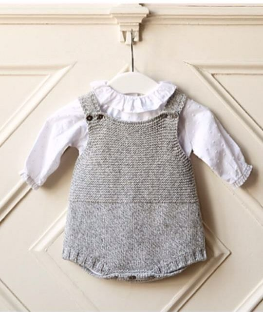 grey knitted romper suit  portuguese baby clothes