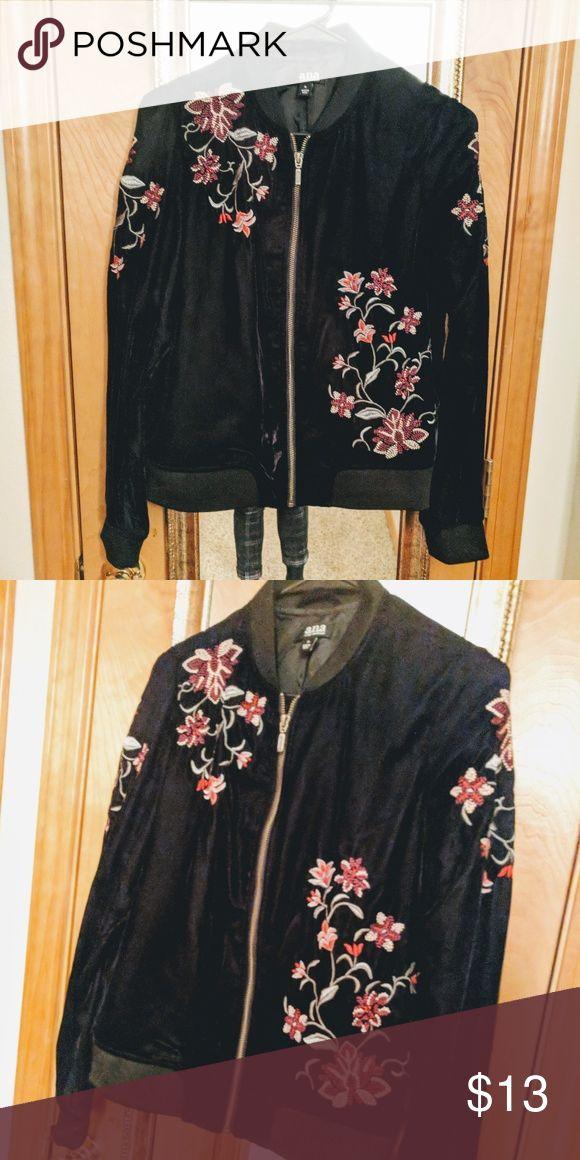 Black Floral Embroidered Velvet Bomber Jacket Velvet