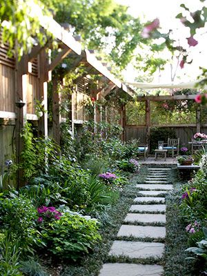 LOVE the angled pergola added to the fence - extra privacy, vines, plants - PRETTY! love the line of greenery against the fence