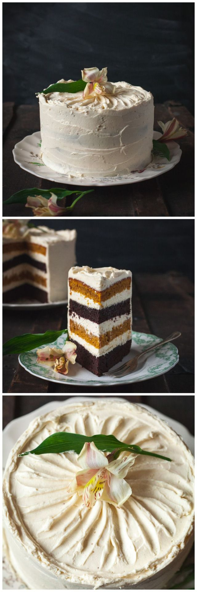 IvyCorrêa. Spiced pumpkin and chocolate cake with maple cinnaon mascarpone frosting. vikalinka.com