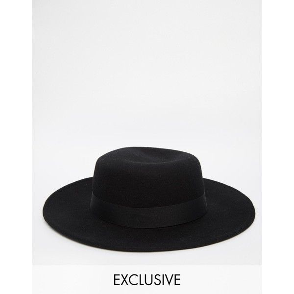 Reclaimed Vintage Wool Pork Pie Hat With Wide Brim ($68) ❤ liked on Polyvore featuring men's fashion, men's accessories, men's hats, black, mens wide brim hats and mens wool hat