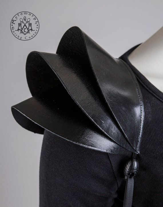Black leather shoulder armour / Shoulder pads / Leather epaulet shrug / Edgy shoulder piece / 3D sculptural fashion pouldrons / Burning man