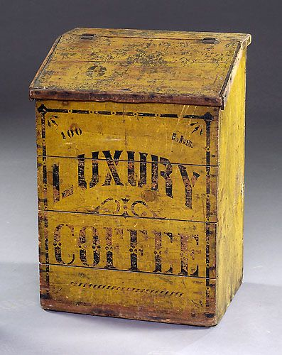 Awesome early old Luxury Coffee wooden bin ****