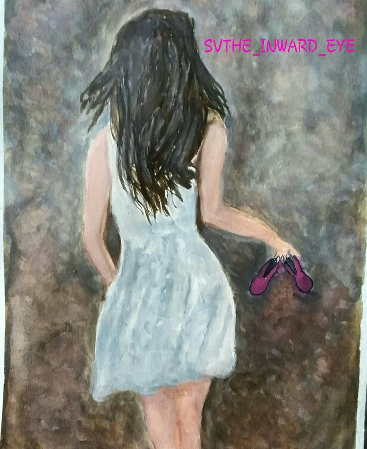 Girl by the sea Poster colour painting