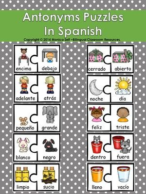 Antonyms Puzzles In Spanish from Bilingual Resources on TeachersNotebook.com -  (9 pages)  - This product contains 10 antonyms puzzles that you can print and laminate for your classroom. This is one of the many products that can be found in Los Antónimos/ Antonyms Unit In Spanish.  The puzzles measure 4.39 x 3.8 inches. Print onto cardstock, trim