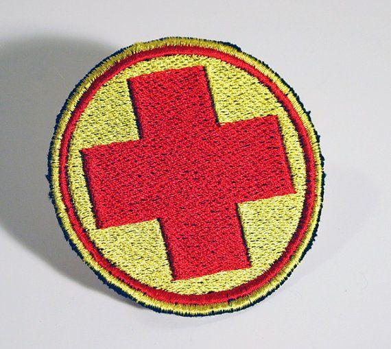 Team Fortress 2 Class Emblem. Two BLU Engineer Patches, Two RED Pyro Patches, Two BLU Medic Patches.