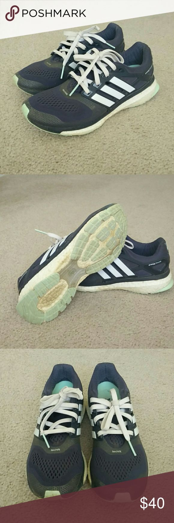 Adidas energy boost shoe Blue, mint and white running shoe. Adidas Shoes Athletic Shoes