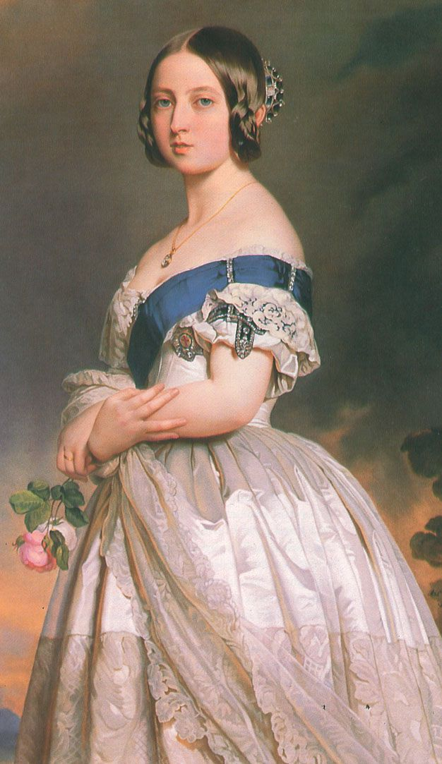 1842 Queen Victoria wearing sapphire jewelry by Franz Xavier Winterhalter Winterhalter painted two similar portraits of Queen Victoria in 1842, one of her wearing a small crown and this one where she also wears Order of the Garter regalia.