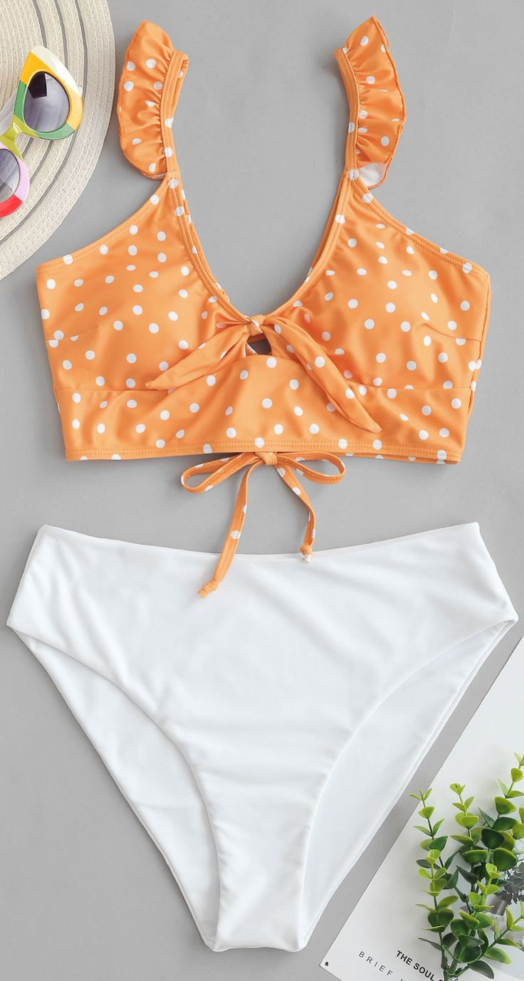 Polka Dot Ruffle Lace Up Tied Tankini Swimsuit