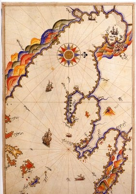 Thessaloniki map by Piri Reis. The Piri Reis map is a world map compiled in 1513 by the Ottoman admiral and cartographer Piri Reis.  It used ten Arab sources, four Indian maps sourced from the Portuguese, and one (lost) map of Columbus. (Naval Museum, Istanbul).