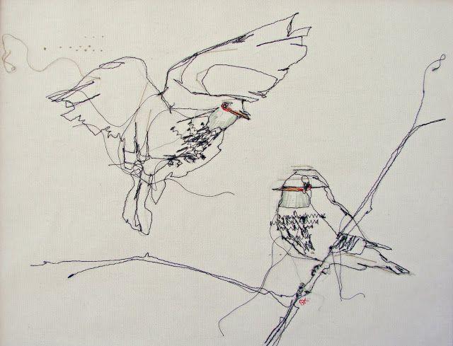 'Thread drawing w. embroidery' by Stephanie K. Clark