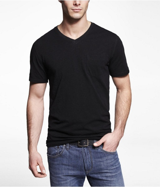 Express Mens Slub Cotton Vneck Pocket Tee Pitch Black, Small
