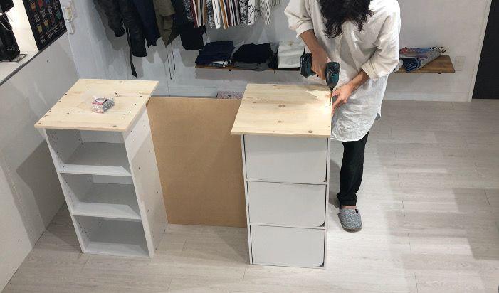 1万円でキッチンにおしゃれなカウンターテーブルをdiy ニトリのカラーボックスで作る方法 Diy Magazine 2020 インテリア 収納 カウンターテーブル カラーボックス