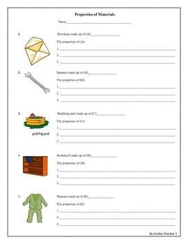 4-8 FREE Properties of Materials Worksheet with10 objects that made up of different materials.Students have to write the name of materials that are used to make those objects and also write the properties of each material used.