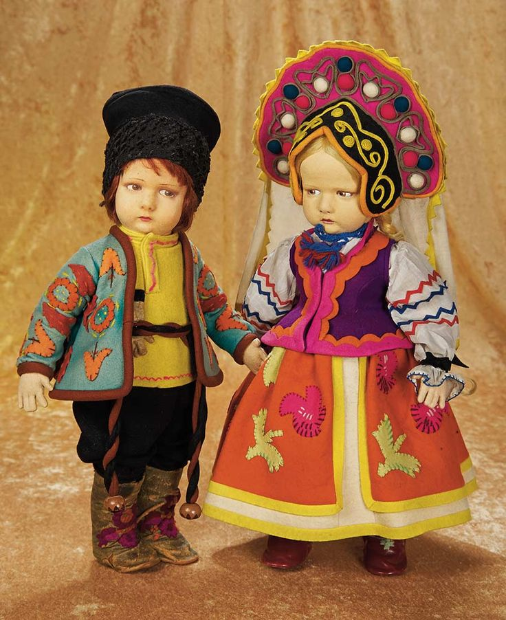 """Character Dolls by Lenci,300 Series,Depicting Russian Boy and Girl, 17"""" (43 cm.)  Theriault's Antique Doll Auctions"""
