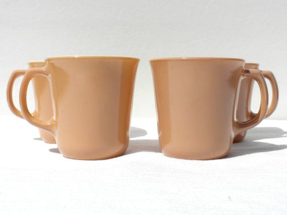 These Corning Dimension IV D handled coffee, or tea, mugs are featured in Almond, which is a tan brown color. Great fit into a simple vintage