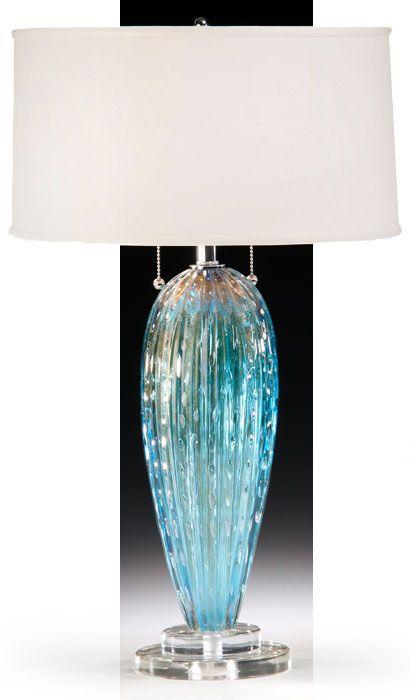 aqua blue Venetian glass lamp;  Murano glass lamps