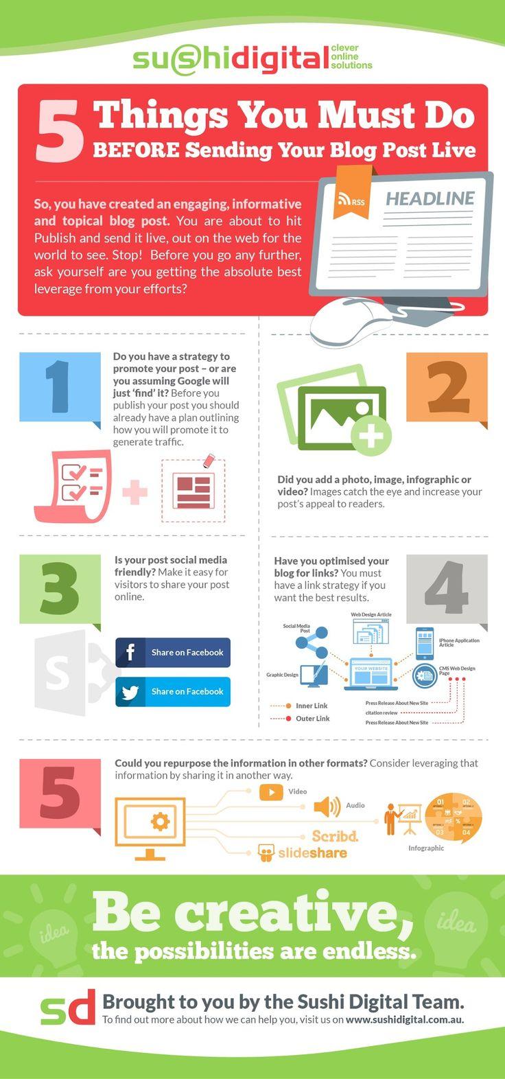 INFOGRAFÍA: 5 aspectos que revisar antes de postear #contenido #socialmedia