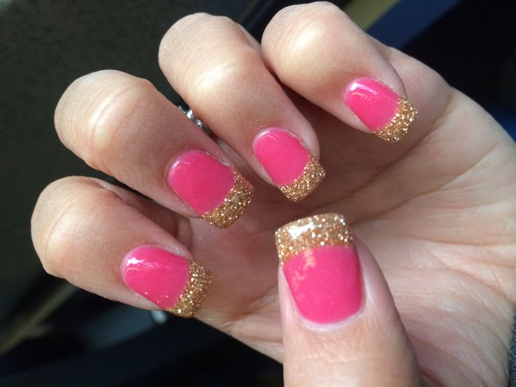 Nails-ANC Pink and Gold French manicure