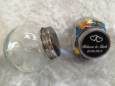 SPECIAL. - 12 x Mini Glass Candy Jars with Personalised Labels