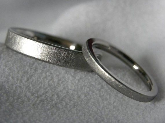 Titanium Ring or Wedding Band SET Frosted Flat Profile