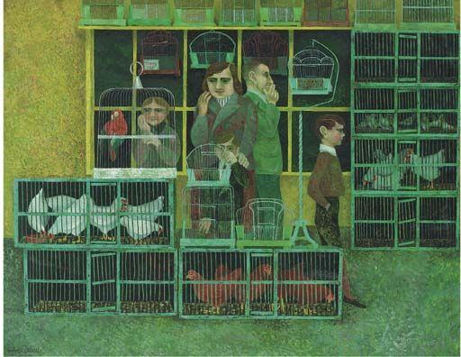 """In the Pet Shop' by Alfred Daniels, 1954 (oil on board)"