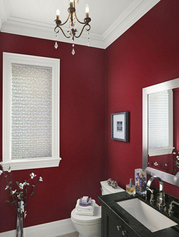 Elegant Modern Bathroom Colors Dark Red Wall Black Vanity Chandelier