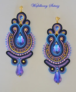 soutache - earrings mishtiart.blogspot.com - Wow...these colors really work well together!