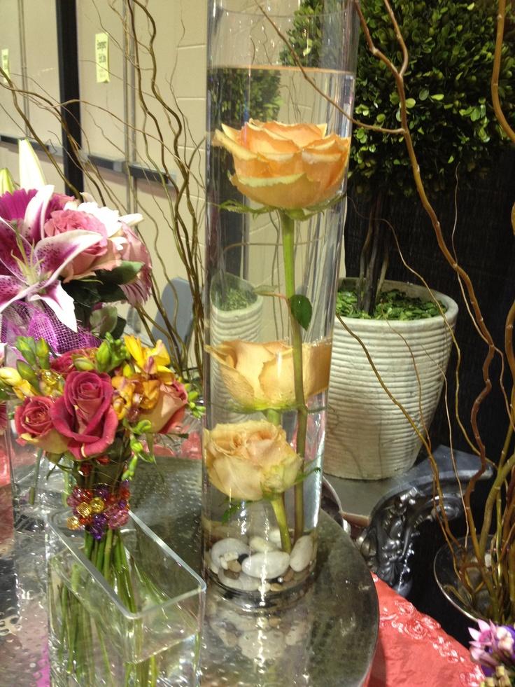Centerpiece Rose Submerged In Water Wedding Ideas