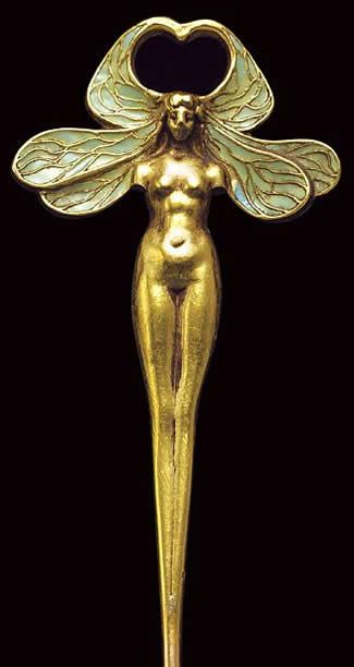 R. Lalique Dragonfly Woman Stickpin: 18-cm long gold & enamel depiction of a part woman/ part dragonfly, c.1898