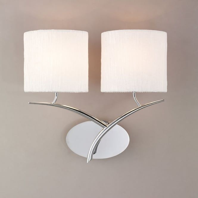 Mantra Eve 2 Light Low Energy Switched Wall Fitting in Polished Chrome Finish with White Shades - Lighting Type from Castlegate Lights UK
