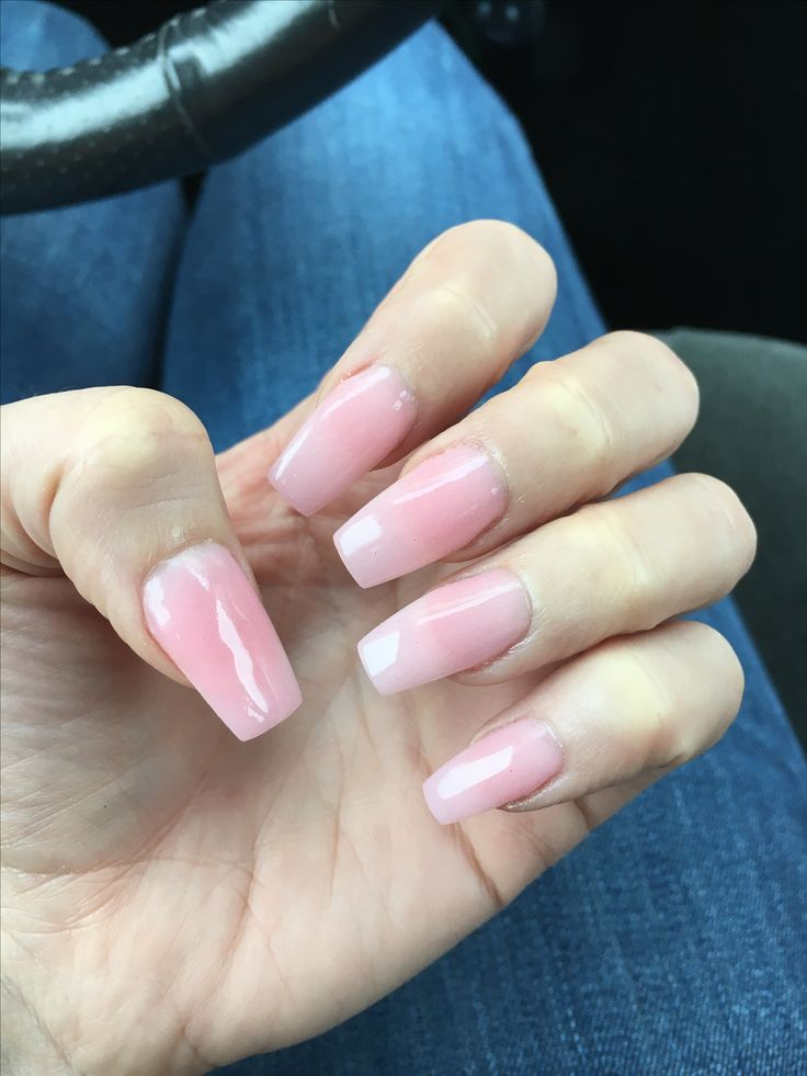 Coffin Tip Pale Pink Sns Nails I Believe Color Was 143 But I Can T Remember In 2019 Sns