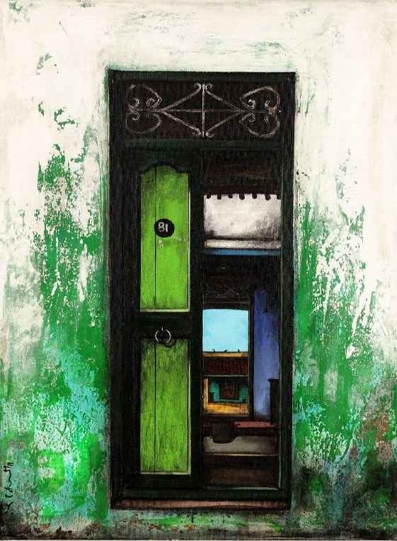 Painting Peering Beyond Main Door Of A South Indian